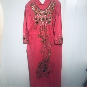 Womens Pink Embroidered and Embellished Dress.